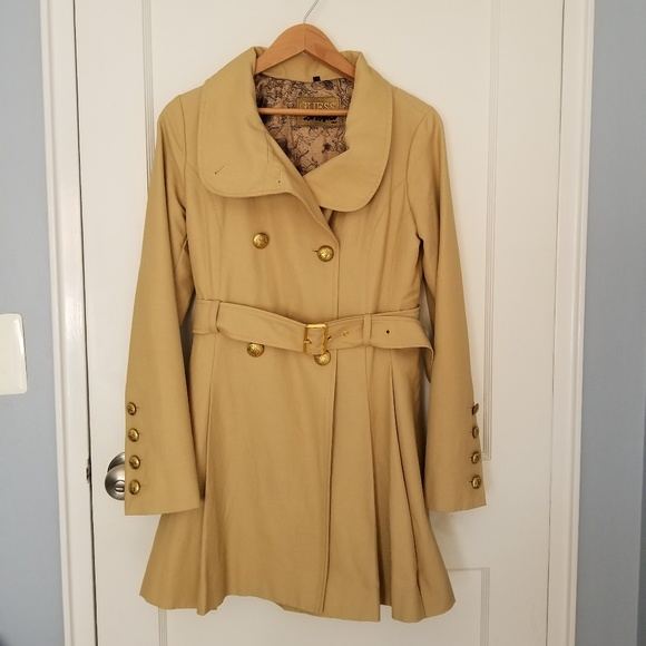 Guess Jackets & Blazers - Guess Belted Double Breasted Soft Trench Pleats S